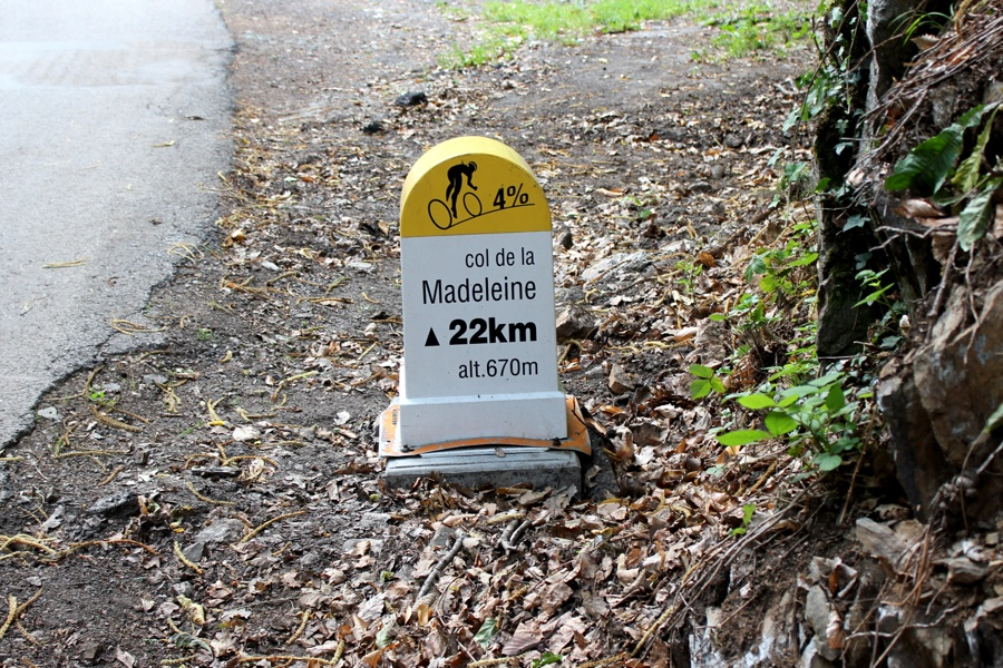 Road cycling holidays distance marker