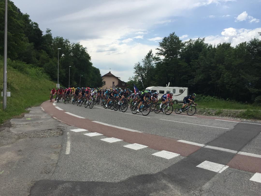 Tour de France riders pass La Bathie