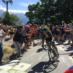 Road cycling riders climbing ADH during the Tour de France